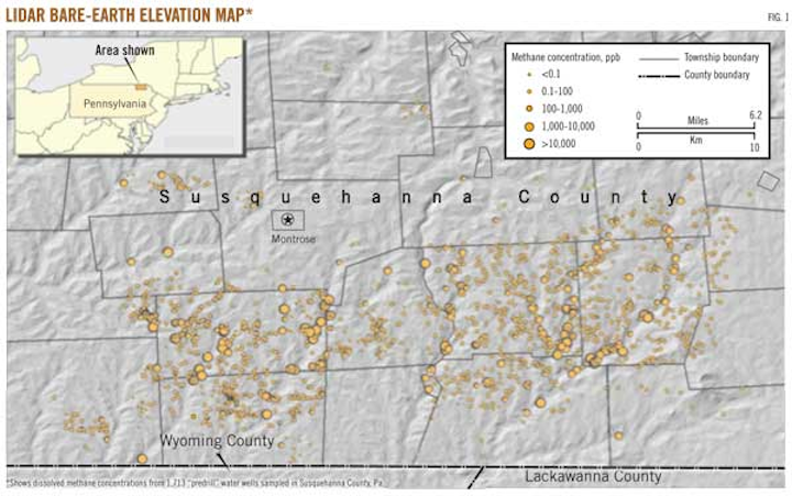 Methane in Pennsylvania water wells unrelated to Marcellus