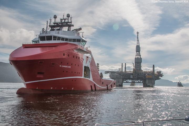 KL Sandefjord tows Njord A platform