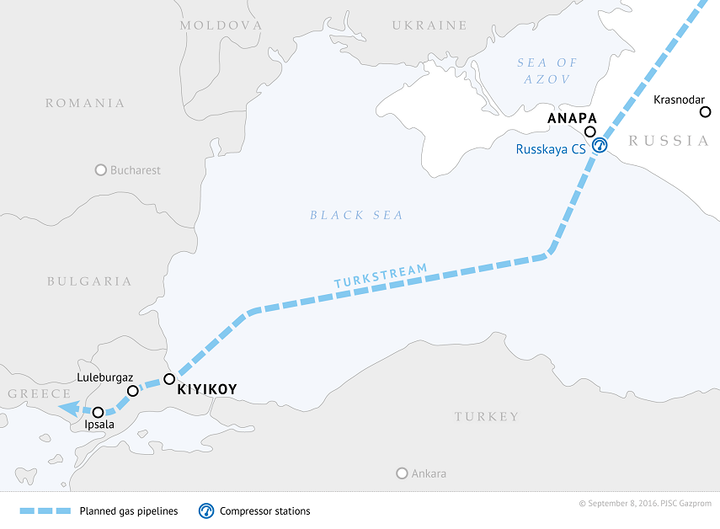 Gazprom TurkStream map