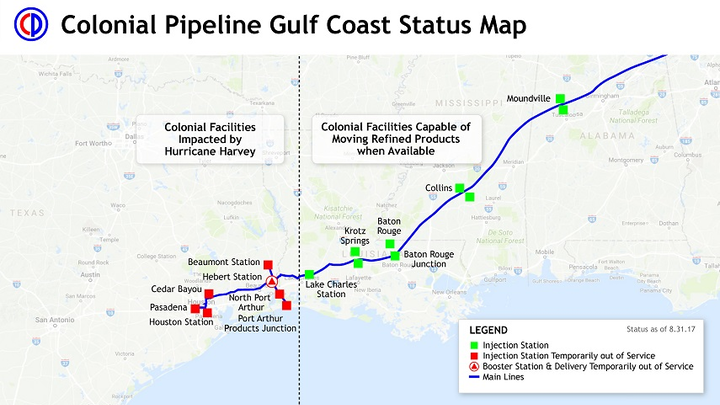 Harvey Us Spr Makes Emergency Release Colonial Pipeline Segment - Gasoline-pipeline-map-us